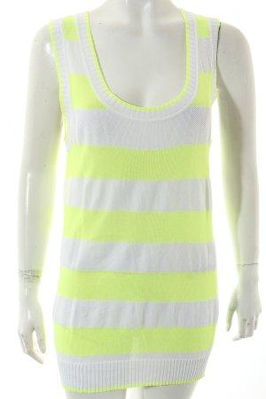 Basler Stricktop weiß-neongelb Streifenmuster Casual-Look