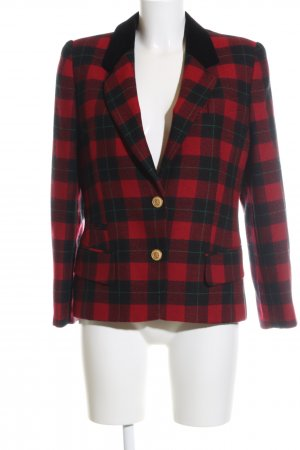 Basler Blazer de lana rojo-negro estampado a cuadros look casual