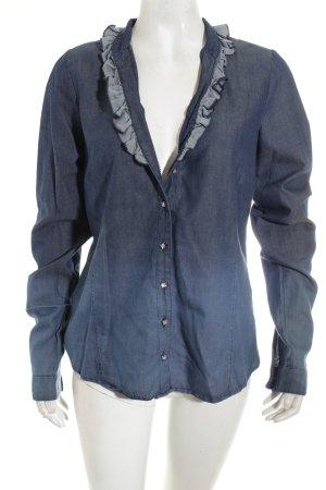 Basset Jeans blouse blauw Jeans-look