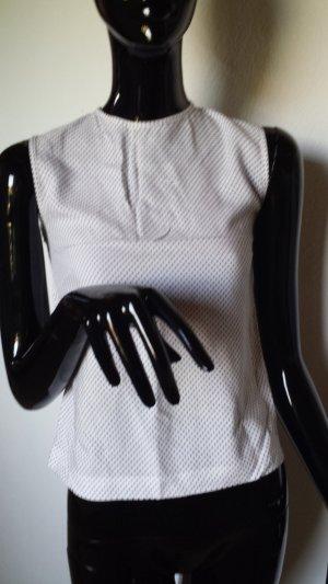 Bastah, leichte ärmellose Bluse weiß mit schwarzen Punkten Gr. 34