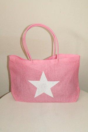 Borsa shopper rosa-bianco