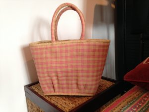 Basket Bag pink-oatmeal