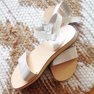 BATA x Asos Sandalen Sandaletten Silber Leder 39 ~ Cos Zara Style Blogger Plateau