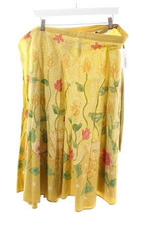 Batik Keris Jupe portefeuille jaune citron vert-vert motif floral
