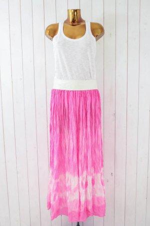 BATIK ROCK Maxirock Damen Batik Seide Leder Pink Weiß Gecreppt Gr.36-38 Neu!