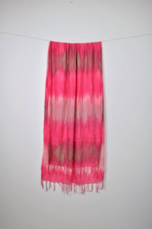 Batik Schal in Pink / Rosa / Altrosa mit Farbverlauf und Fransen