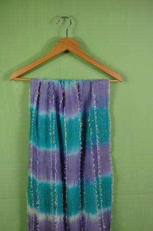 Batik Schal mit Fransen und Farbverlauf in Türkis und Lavendel