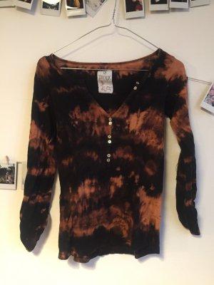 Batik Shirt Grunge Langarmshirt mit Knöpfen Zara Acid Wash S
