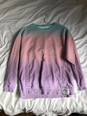 Batik Sweatshirt Shirt langarm Oberteil hollister abercrombie & fitch Pink rosa lila Mont Verlauf bunt Farben