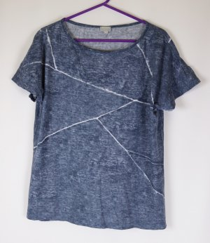Batik T-Shirt Shirt Top Hess Natur Größe S 36 Blau Grau Weiß Baumwolle Locker Boxy