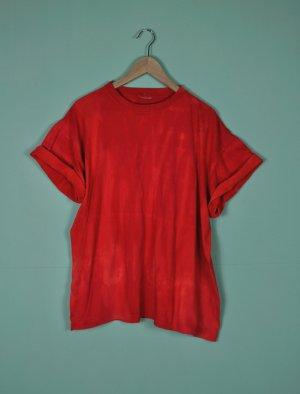 Vintage Camisa batik rojo neón-rojo