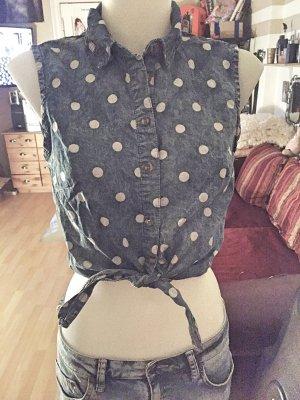Bauchfreie blaue Bluse mit weißen Punkten S