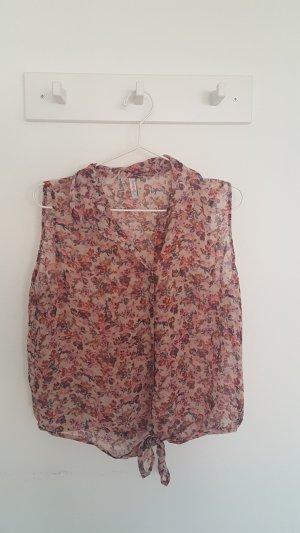 bauchfreie gebundene Bluse mit Blumenmuster