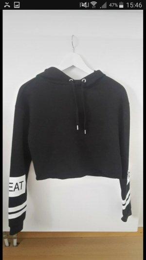 bauchfreier hoodie, gecroppt, schwarz, pullover grösse s