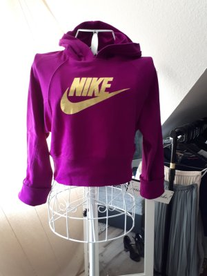 Bauchfreier Hoodie von Nike lila/gold