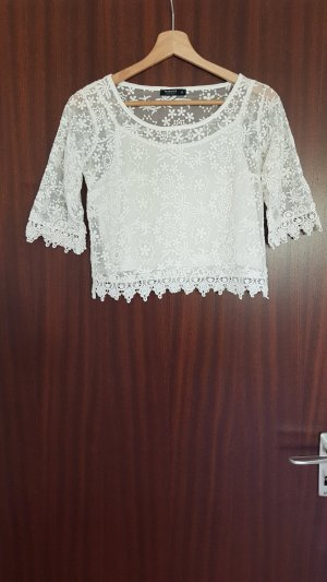 Reserved Camicia cropped bianco Cotone