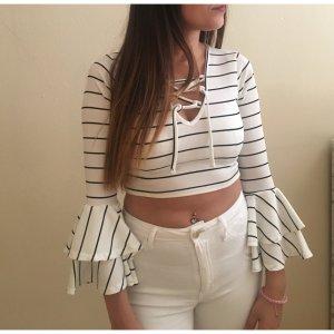 Boohoo Camisa recortada blanco-negro