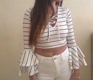 Boohoo T-shirt court blanc-noir