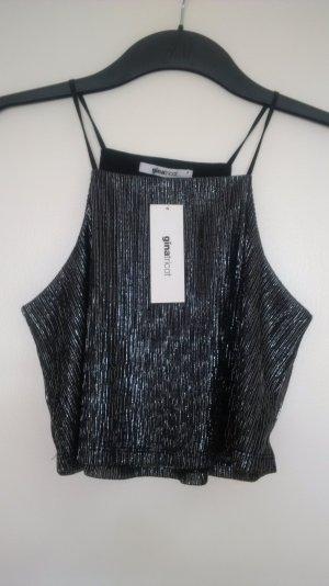 bauchfreies silber-schwarzes Partytop von gina tricot Größe S neu