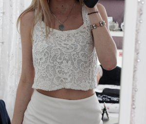 Bershka Lace Top white