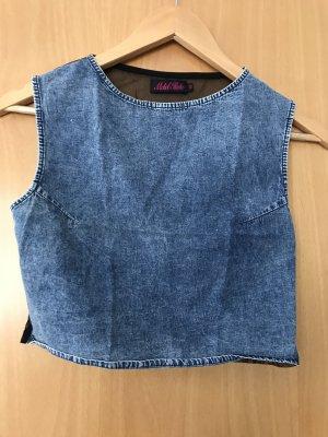 Bauchfreies Top in Jeans-Optik mit durchsichtigem Rückenteil