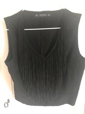 Zara Basic T-shirt col en V noir