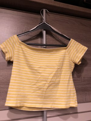 H&M Divided Camicia cropped bianco-giallo