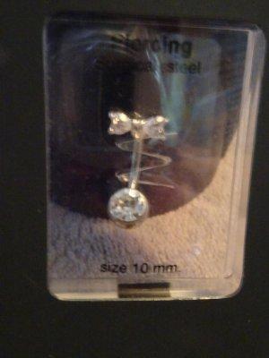 Bauchnabelpiercing, 10 mm mit weißer perle und schleife