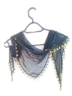 Bufanda de seda negro-color oro