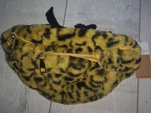 Bauchtasche aus Plüsch in Safran gelb schwarz mit 2 Taschen NEU