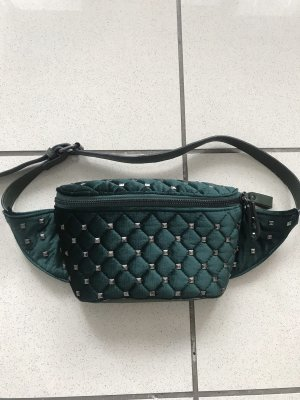 Bumbag dark green-silver-colored