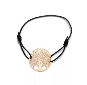 Baum des Lebens Charm Armband Anhänger, gold, elastisches, einstellbares Band
