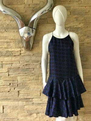 BAUM UND PFERDGARTEN Dress Kleid Seide Volants - blau  - NP 359 €