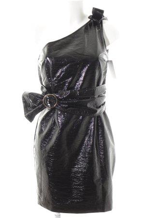 Baum und Pferdgarten One-Shoulder-Kleid schwarz Lack-Optik