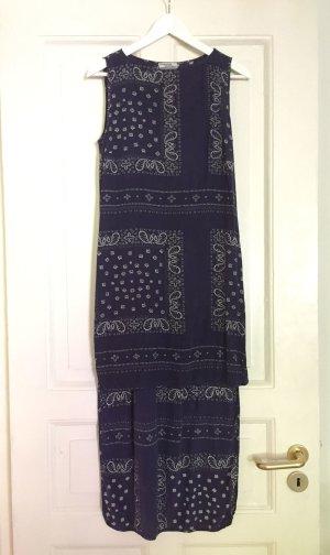 Baum und Pferdgarten Sommerkleid Kleid Seidenkleid Paisley dunkelblau