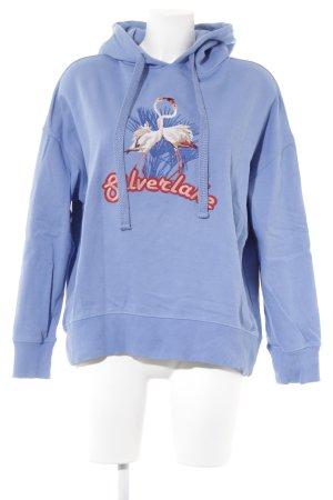 Baum und Pferdgarten Sweatshirt stahlblau-rosé Schriftzug gestickt Casual-Look