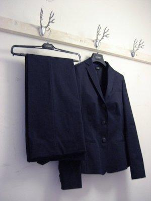 Baumwoll Anzug, langer Blazer, Buntfaltenhose