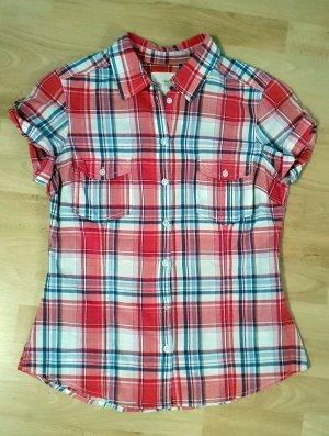Baumwoll Bluse Hemd von H&M Karomuster rot weiß blau - top zu Jeans - Gr. 36-38