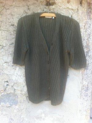 Short Sleeve Knitted Jacket khaki cotton