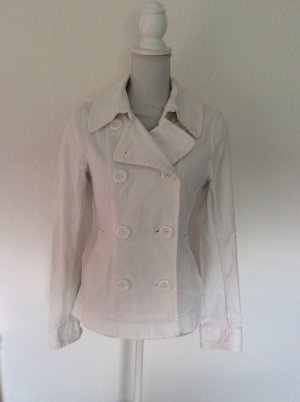 H&M Pea Jacket white-natural white cotton