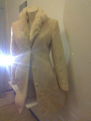 Baumwoll Mantel beige- wollweiss mit Fake Fell 34