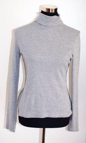Baumwoll-Rolli Rollkragen-Shirt grau meliert S (36/38), wie neu