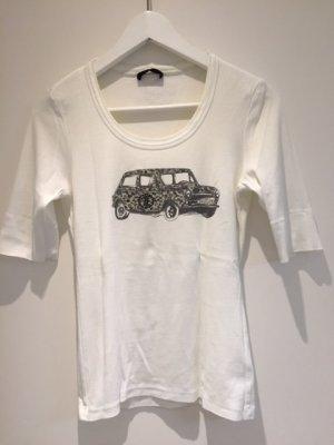 Baumwoll-Shirt mit Print und Steinchen