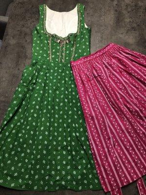 Baumwolldirndl in grün / pink