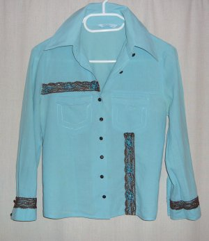 adilisk Chemise à manches longues bleu clair coton