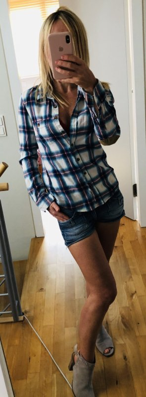 H&M Checked Blouse light blue