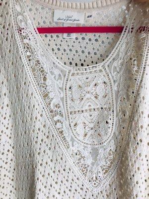 H&M Garden Collection Top en maille crochet blanc cassé