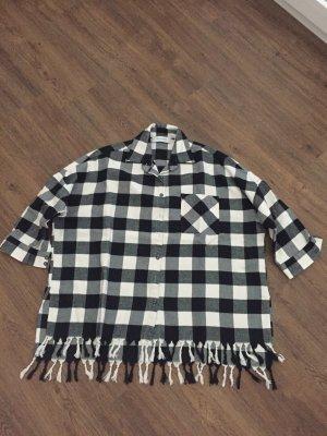 Aglini Camicia a scacchi bianco-nero Cotone