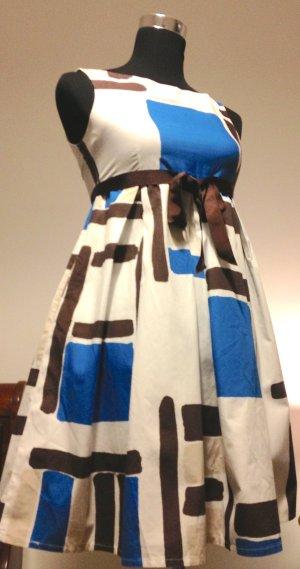 Baumwollkleid mit Art-Print und Gürtel aus Ripsband
