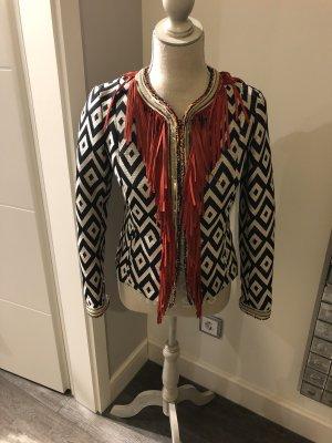 Tweed blazer rood-blauw